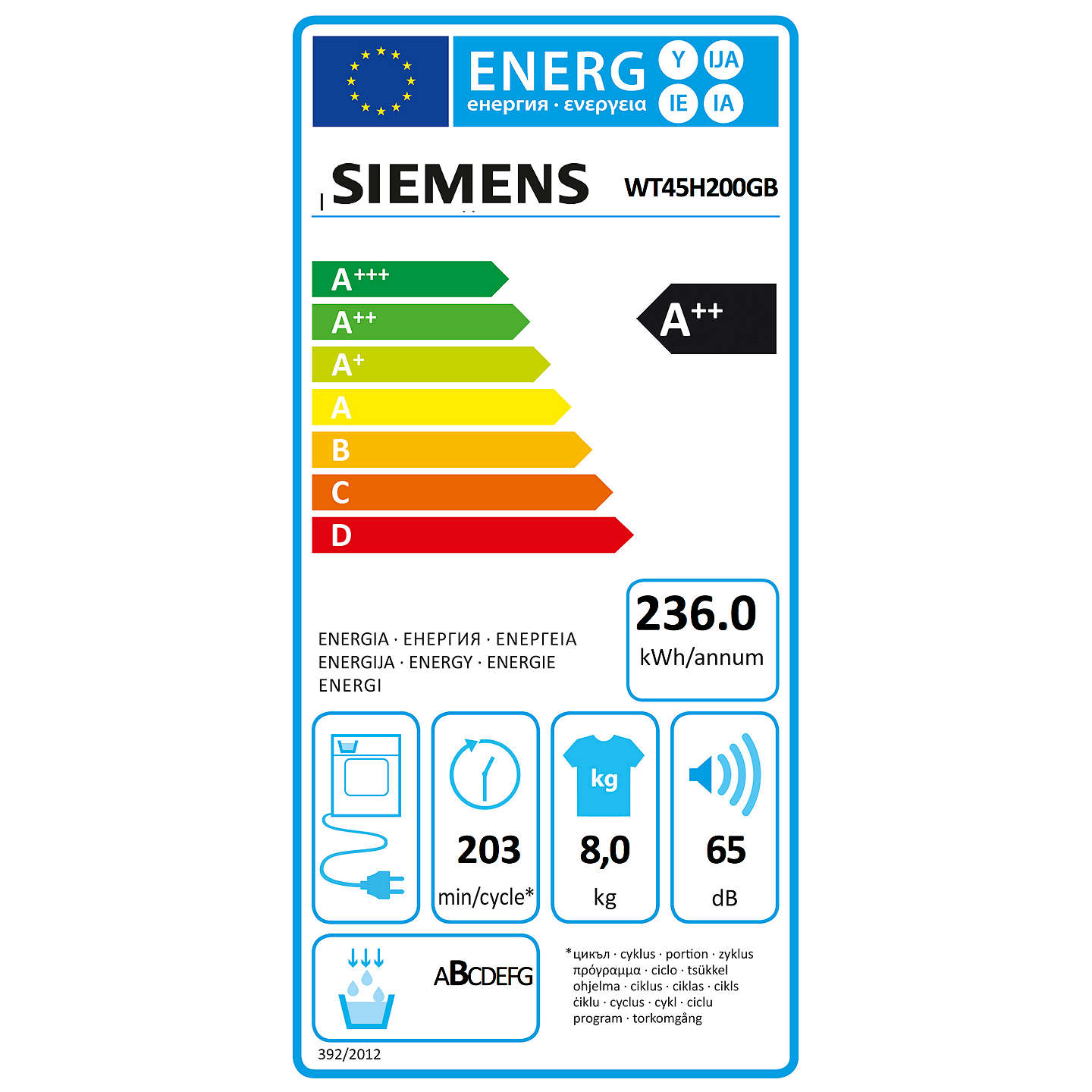 BuySiemens WT45H200GB Freestanding Heat Pump Condenser Tumble Dryer, 8kg Load, A++ Energy Rating, White Online at johnlewis.com
