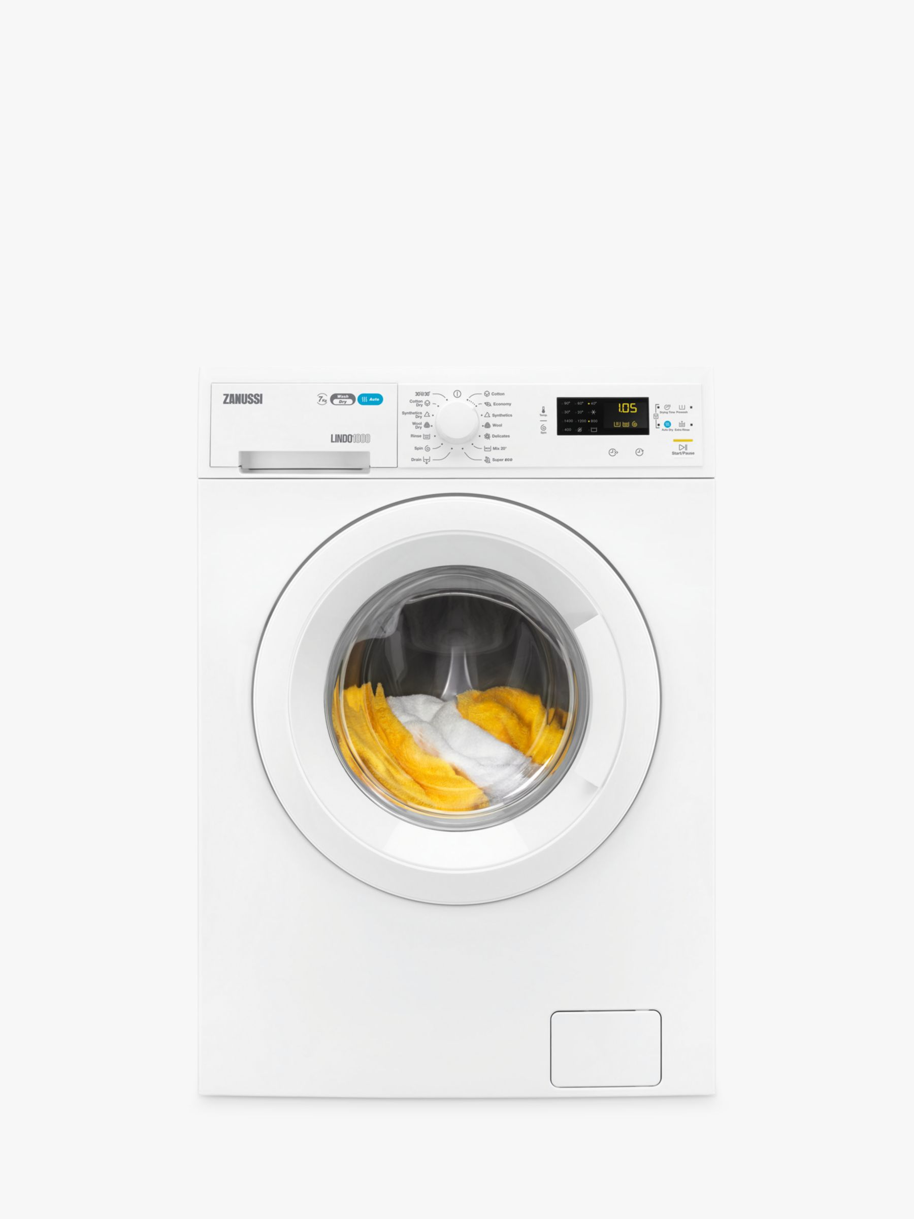 Zanussi Zanussi ZWD71463NW Freestanding Washer Dryer, 7kg Wash/4kg Dry Load, B Energy Rating, 1400rpm Spin, White