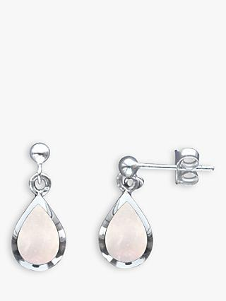 Nina B Mother of Pearl Teardrop Earrings, Silver/White