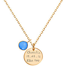 Buy Merci Maman Personalised Gemstone Disc Pendant Necklace Online at johnlewis.com