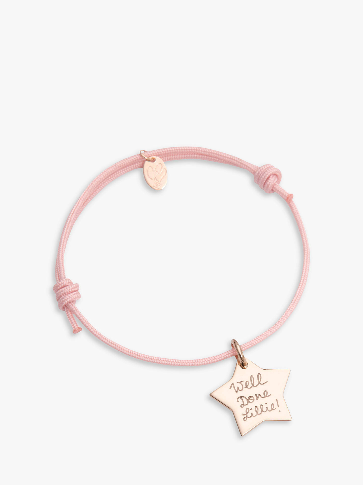 8e9939ca8da47 Merci Maman Personalised Star Bracelet, Gold/Dusty Pink