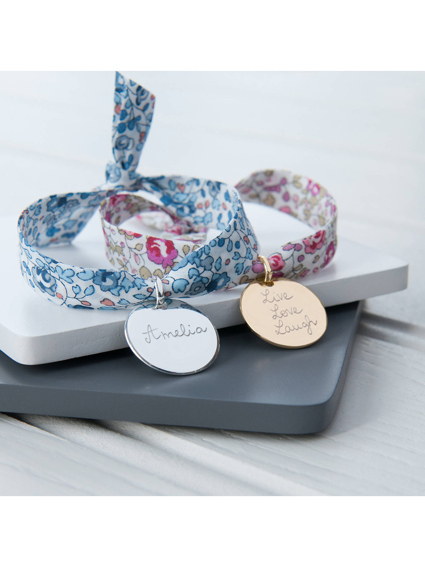 Buy Merci Maman Personalised Disc Liberty Bracelet, Gold/Eloise Pink Online at johnlewis.com