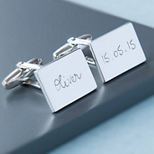 Buy Merci Maman Personalised Sterling Silver Rectangular Cufflinks, Silver Online at johnlewis.com