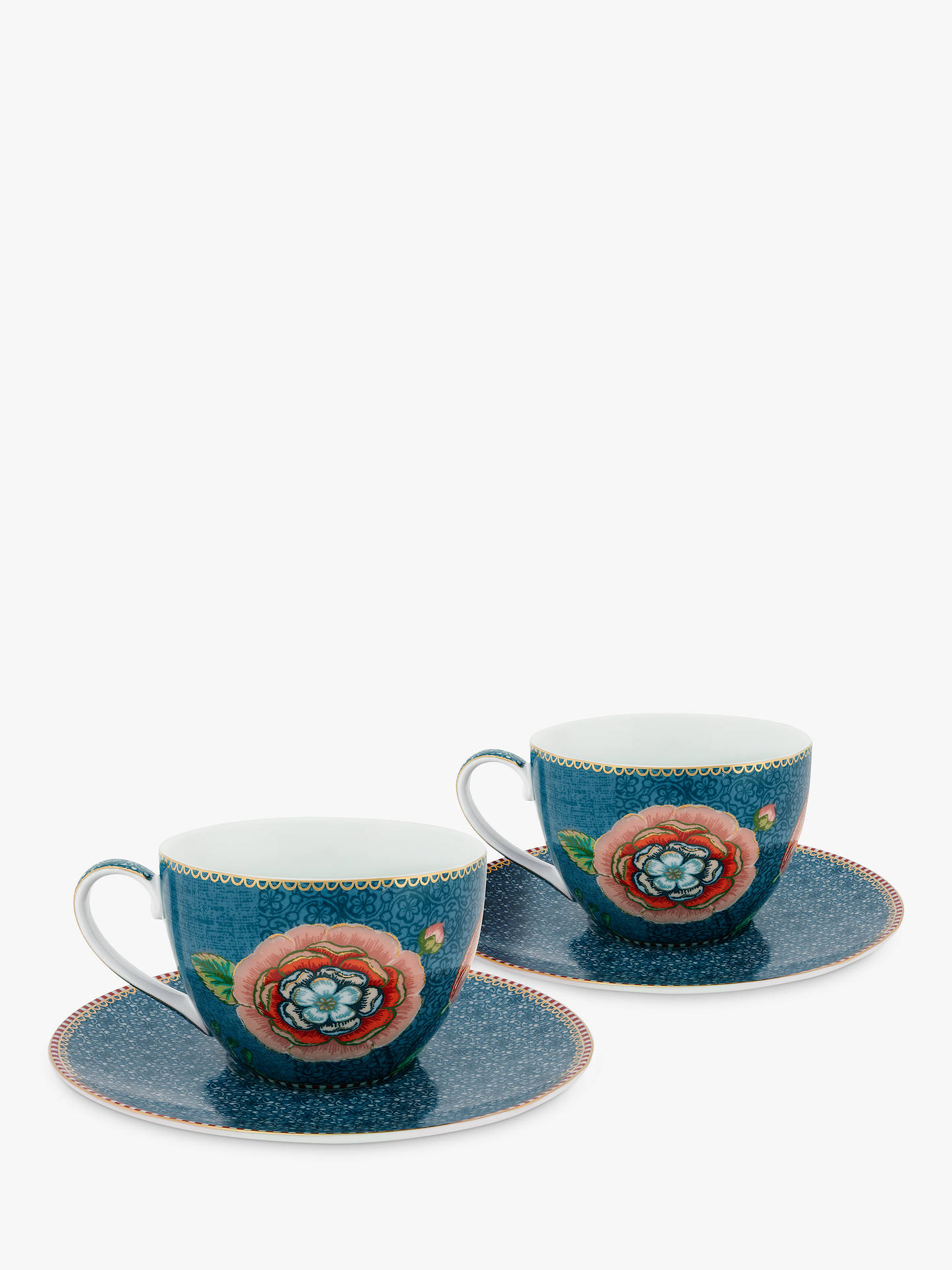 BuyPiP Studio Spring To Life Cup & Saucer, Set of 2, Blue Online at johnlewis.com