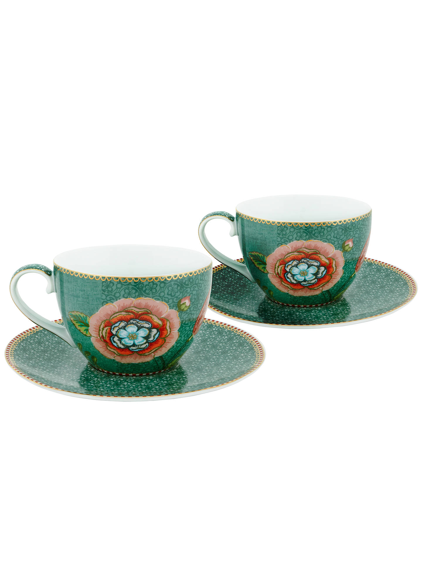 BuyPiP Studio Spring To Life Cup & Saucer, Set of 2, Green Online at johnlewis.com