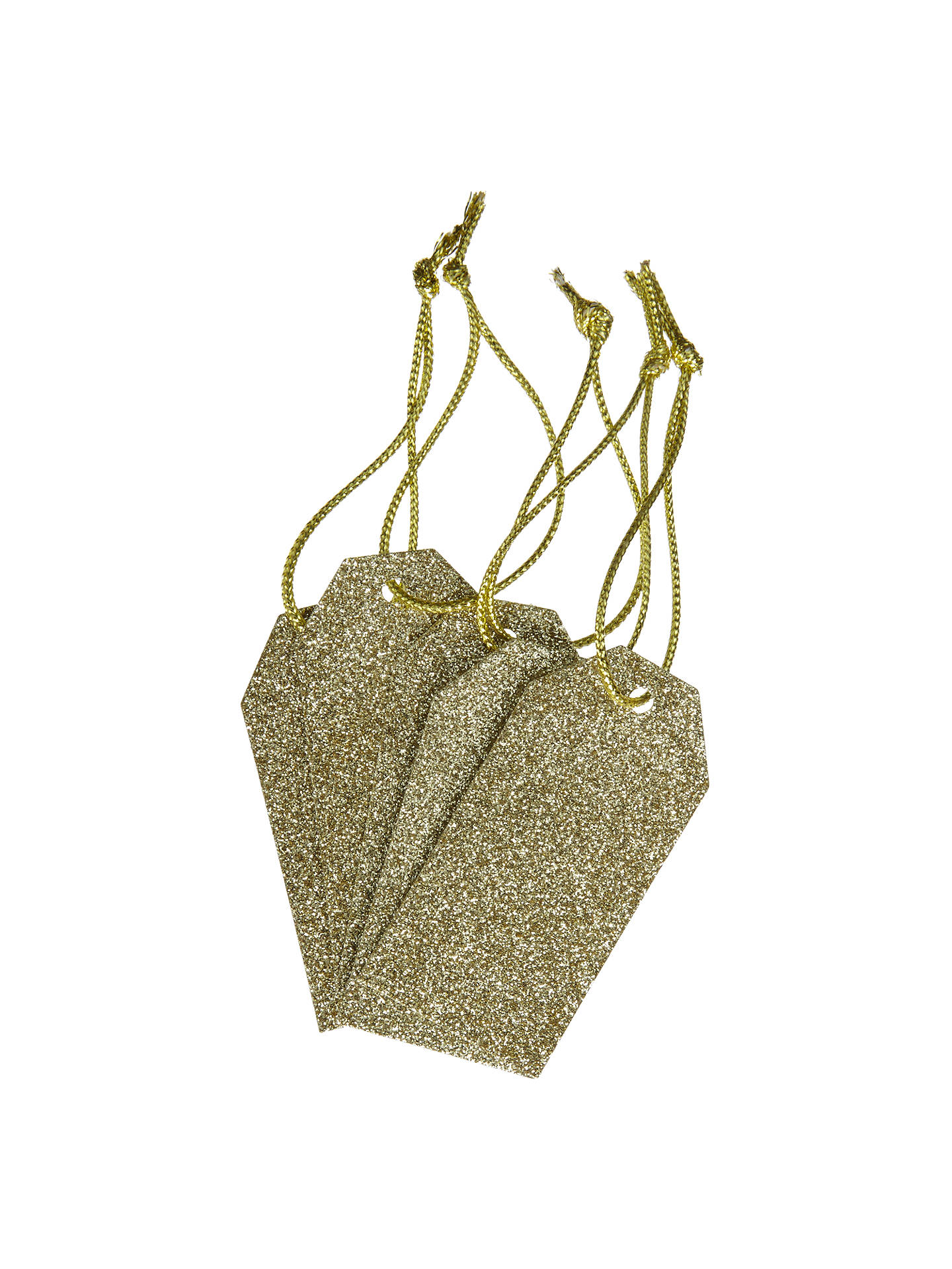 Buy John Lewis & Partners Glitter Gift Tags, Pack of 5, Gold Online at johnlewis.com