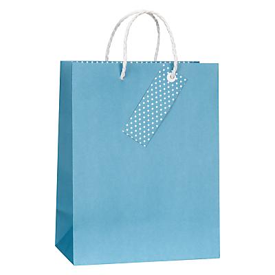 John Lewis Turquoise Polka Dot Gift Bag, Small