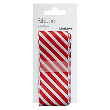 Buy John Lewis Wide Stripe Ribbon, Red and White, 2m Online at johnlewis.com