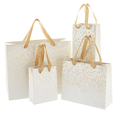 Image of John Lewis & Partners Gold Flitter Spot Gift Bag