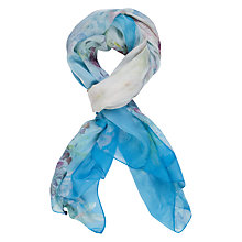 Buy Chesca Floral Print Silk Scarf, Aqua/Pink Online at johnlewis.com