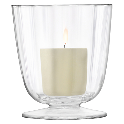 LSA International Light Fluted Hurricane Candle Holder, Small