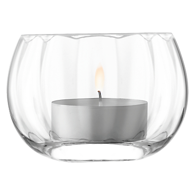 LSA International Light Fluted Tealight Holder, 8cm