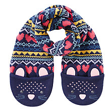 Buy John Lewis Children's Novelty Cat Scarf, Navy Online at johnlewis.com