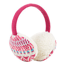 Buy John Lewis Girls' Fair Isle Earmuffs, Pink Online at johnlewis.com