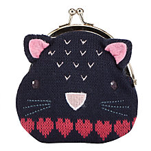Buy John Lewis Girls' Knitted Cat Purse, Navy Online at johnlewis.com