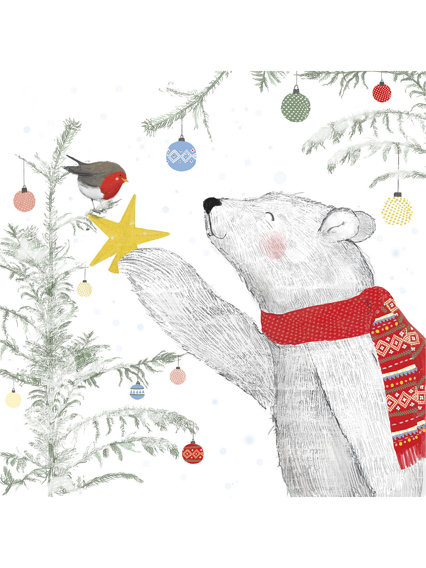 UK Greetings Polar Bear And Robin Charity Christmas Cards, Pack of 8 ...