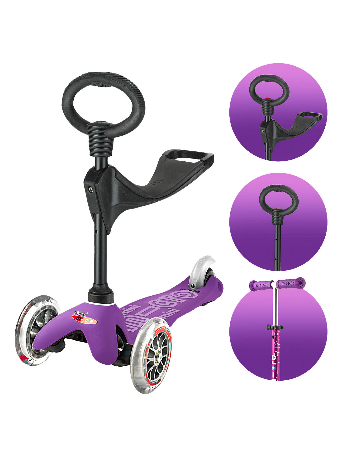 6386dafbff4 Buy Mini Micro 3in1 Deluxe Scooter, 1 - 5 years, Purple Online at johnlewis  ...
