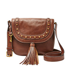 Buy Fossil Emi Medium Leather Saddle Bag, Brown Online at johnlewis.com
