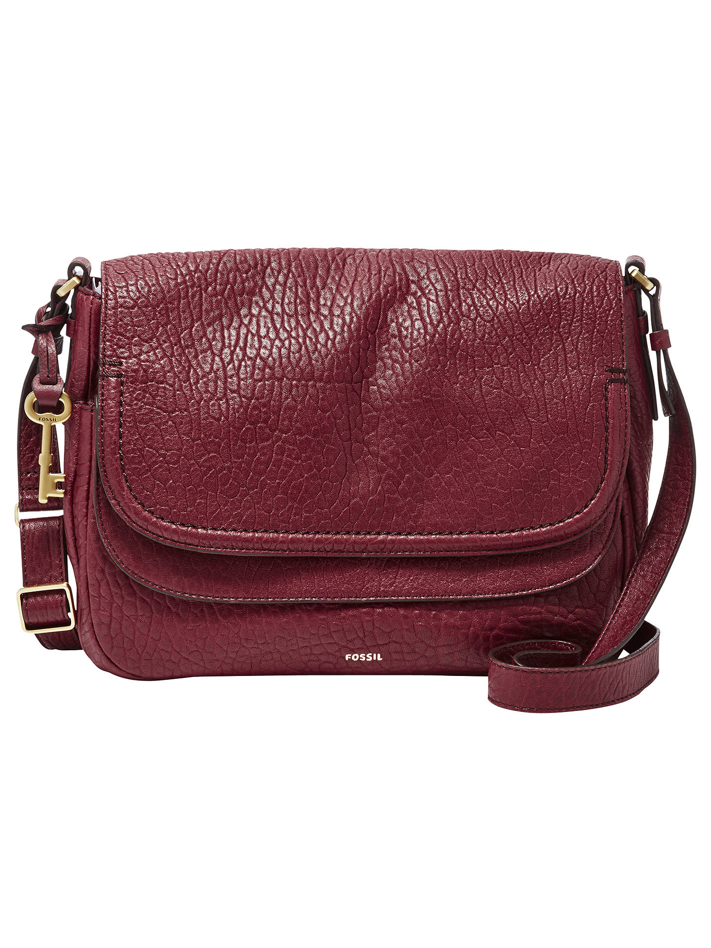 91edfe04edd Buy Fossil Peyton Large Leather Double Flap Across Body Bag, Wine Online at  johnlewis.