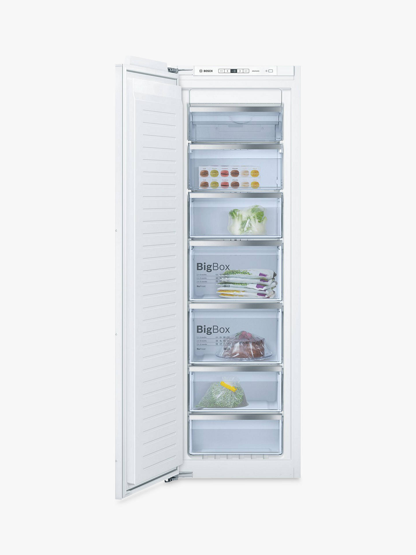 BuyBosch GIN81AE30G Integrated Upright Freezer, A++ Energy Rating, Frost Free, 56cm Wide, White Online at johnlewis.com