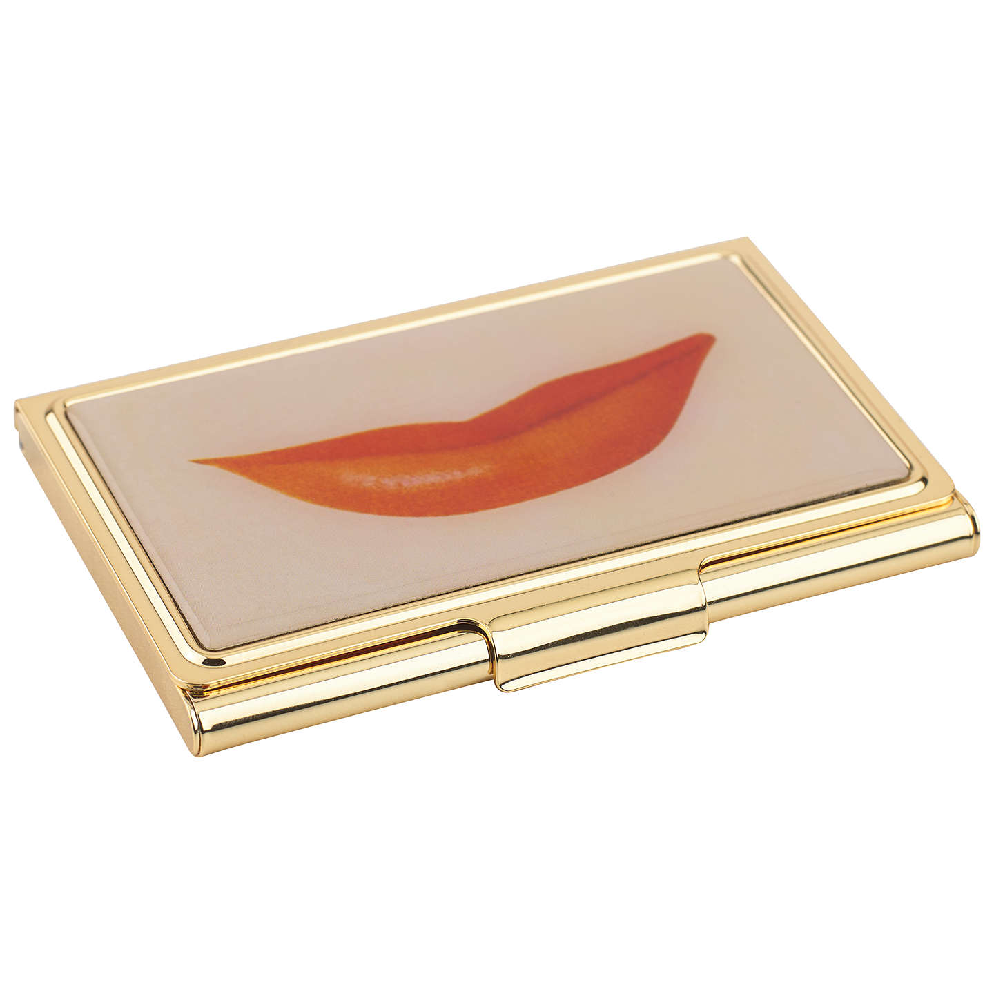 kate spade new york Lips Business Card Holder, Gold/ Pink at John Lewis