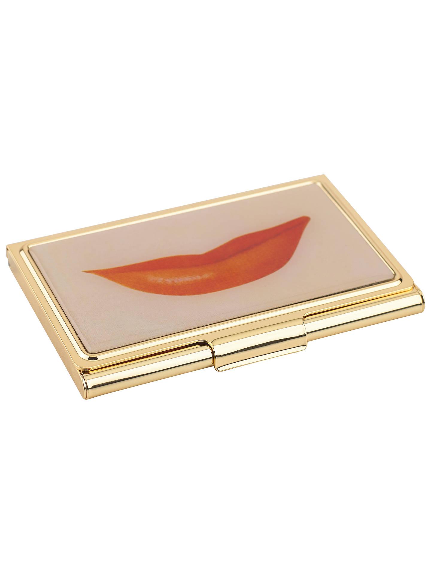 kate spade new york lips business card holder gold pink