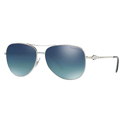 Tiffany & Co TF3052B Polarised Aviator Sunglasses, Silver/Blue
