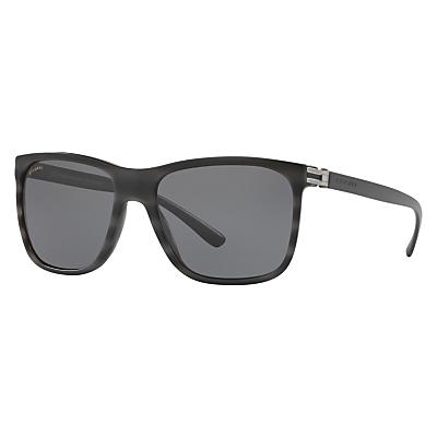 BVLGARI BV7027 Polarised Square Sunglasses, Charcoal