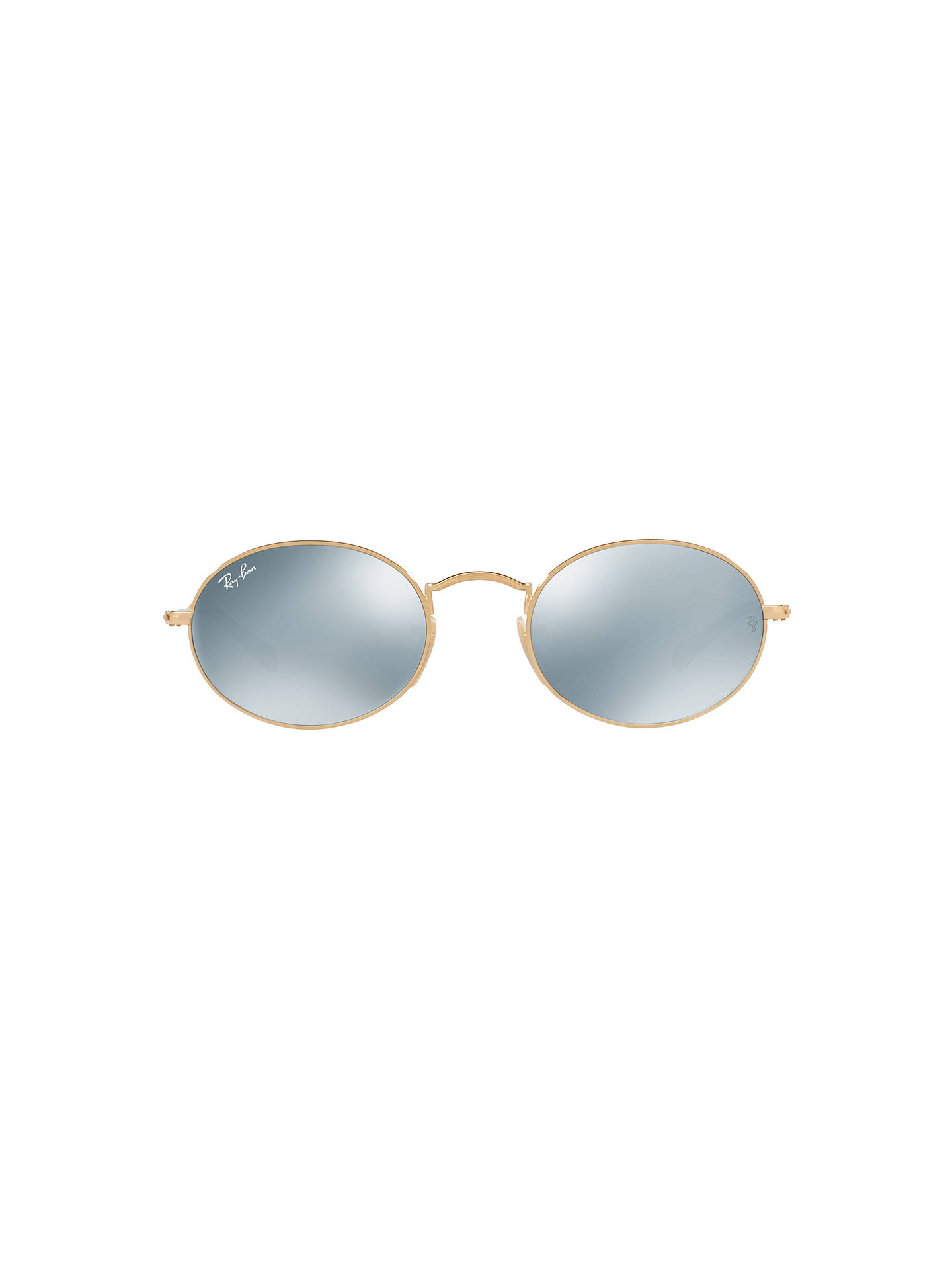 5856bf557 ... Buy Ray-Ban RB3547N Oval Flat Lens Sunglasses, Gold/Mirror Silver  Online at ...