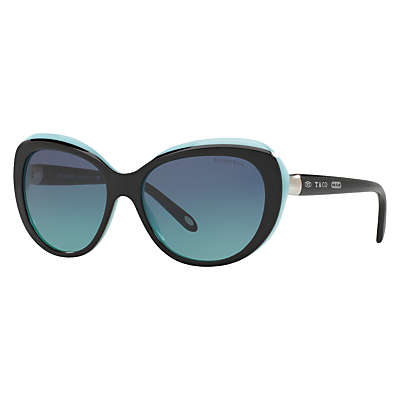 Tiffany & Co TF4122 Cat's Eye Sunglasses, Black/Turquoise