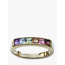 Buy Nina B 9ct Gold Princess Cut Semi-Precious Stones Half Eternity Ring, Gold/Multi Online at johnlewis.com