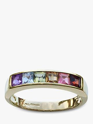 Nina B 9ct Gold Princess Cut Semi-Precious Stones Half Eternity Ring, Gold/Multi