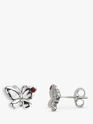 Nina B Sterling Silver Crystal Butterfly Stud Earrings
