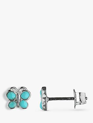 Nina B Sterling Silver Butterfly Stud Earrings, Turquoise