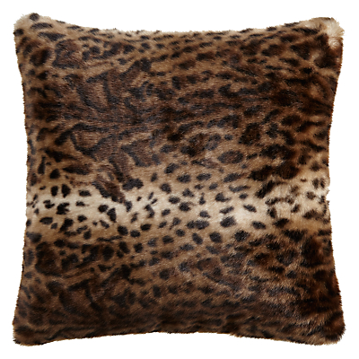 Helene Berman Brown Jaguar Faux Fur Cushion
