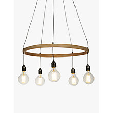 Buy Tom Raffield Kern Hoop Pendant Ceiling Light, 5 Light, Oak, 60cm Online at johnlewis.com