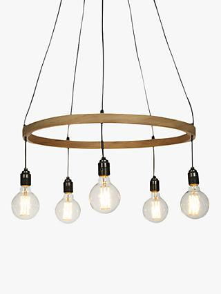 Tom Raffield Kern Hoop Pendant Ceiling Light, 5 Light, Wood, 60cm