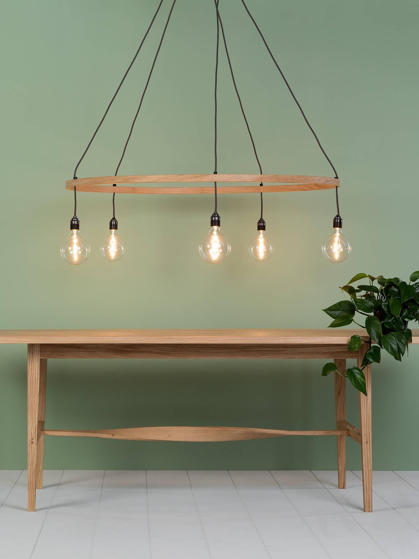 quality design 28ad8 2d26c Tom Raffield Kern Hoop Pendant Ceiling Light, 5 Light, Wood, 60cm