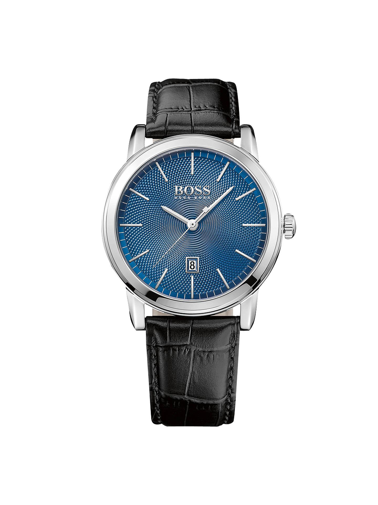 HUGO BOSS 1513400 Men s Classic Date Leather Strap Watch 75f997544997