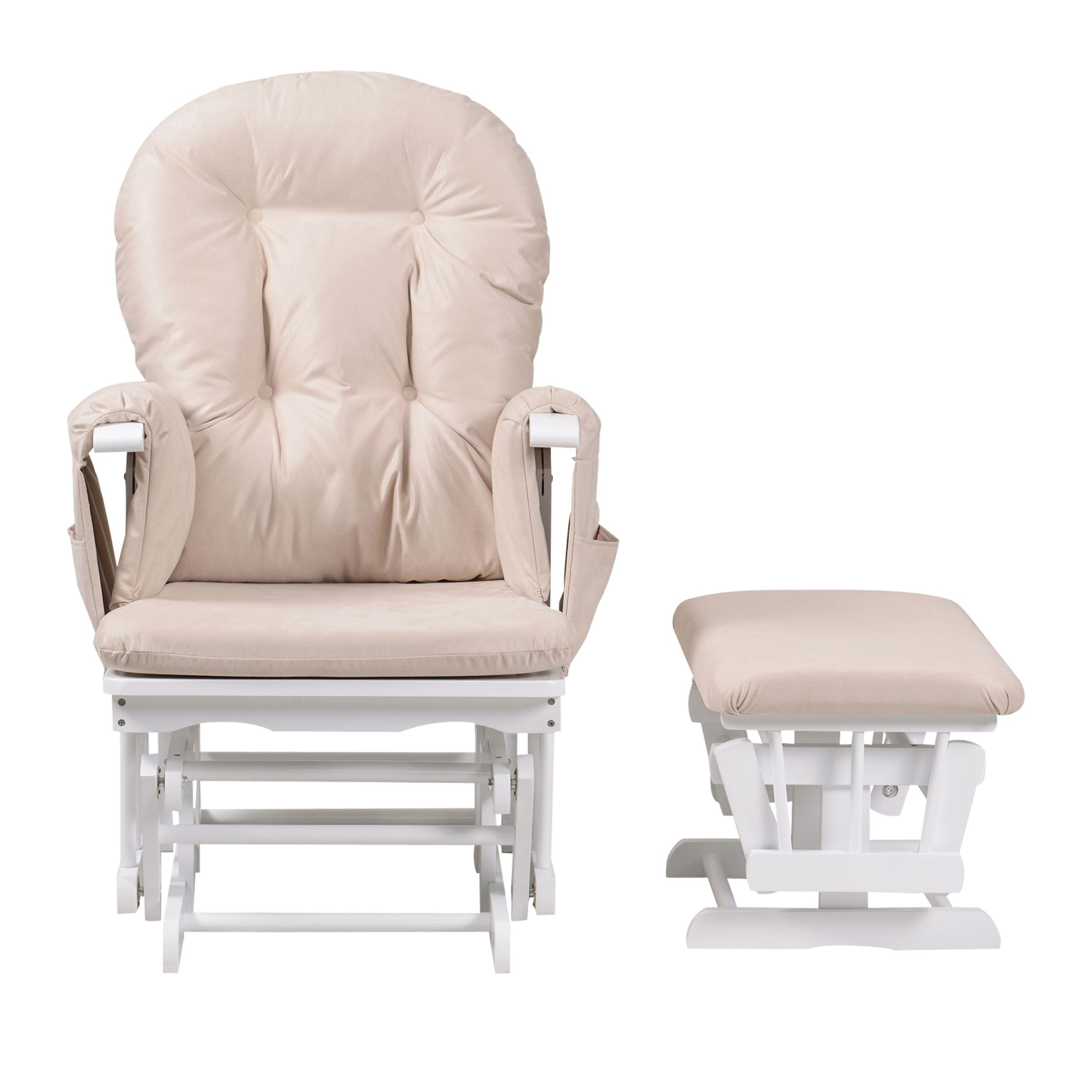Kub Kub Haywood Reclining Glider Nursing Chair and Footstool, White