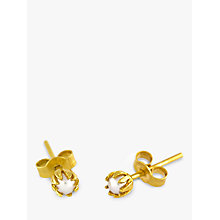 Buy Alex Monroe 22ct Gold Plated Sterling Silver Baby Pearl Bud Stud Earrings, Gold Online at johnlewis.com