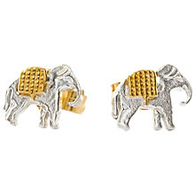 Buy Alex Monroe 22ct Gold Plated Sterling Silver Elephant Stud Earrings, Silver/Gold Online at johnlewis.com