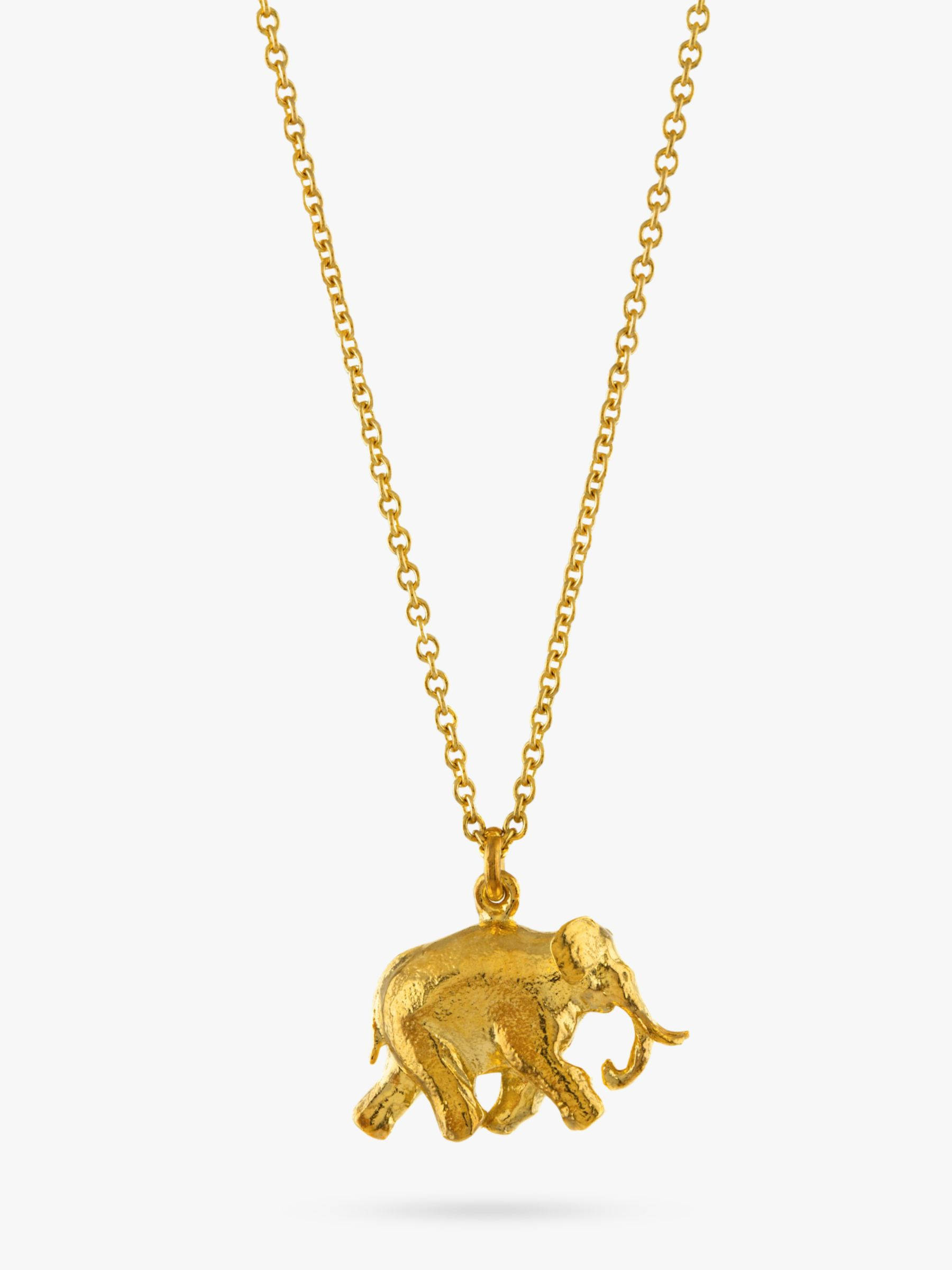 Alex Monroe Alex Monroe 22ct Gold Plated Sterling Silver Elephant Pendant Necklace, Gold