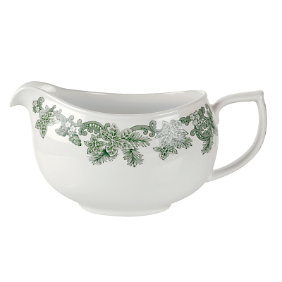 Product photo of Spode ruskin house sauce boat green white