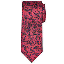 Buy John Lewis Woven in Italy Paisley Print Silk Tie, Burgundy Online at johnlewis.com