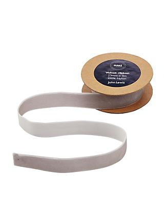 John Lewis & Partners Velvet Ribbon, 3m, Grey