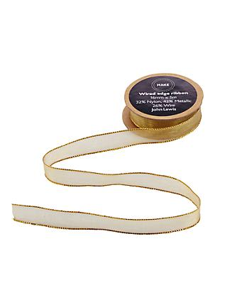John Lewis & Partners Wired Ribbon, 5m, Gold