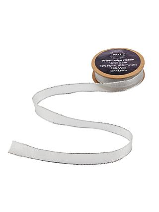 John Lewis & Partners Wired Ribbon, 5m, Silver