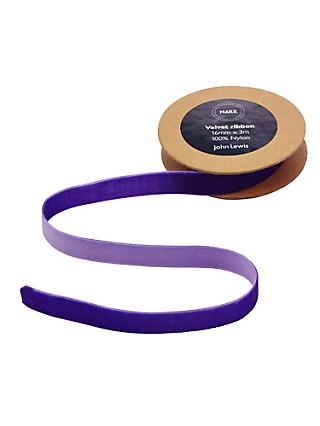 John Lewis & Partners Velvet Ribbon, 3m, Purple