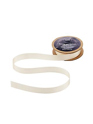 John Lewis & Partners Grosgrain Ribbon, 5m, Cream